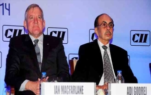 Hon'ble Australian Industry Minister Mr Ian Macfarlane, and Past President CII Adi Godrej addressing at CII Global Summit on Skill Development 2014 on 10 November, 2014 at Mumbai. (L-R) Mr Ian Macfarlane...