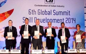 Launch of India Skills Report 2015 at CII Global Summit on Skill Development 2014 on 10 November, 2014 at Mumbai. (L-R) Mr Dilip Chenoy, CEO & Managing Director, National Skill Development Corporation (NSDC) Govt of